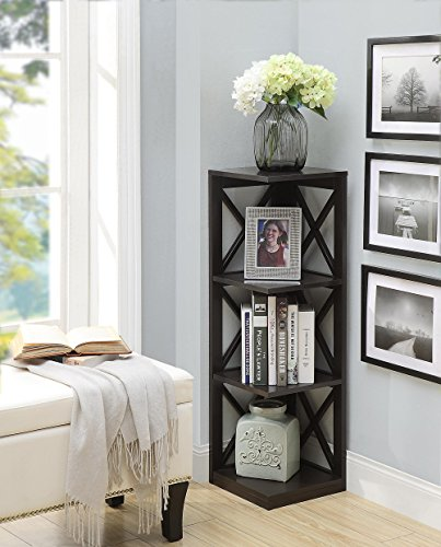 Convenience Concepts Oxford 3 Tier Corner Bookcase, Espresso