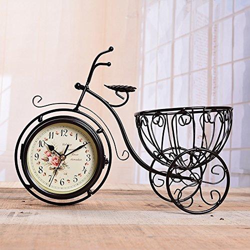 HQQ Triciclo de la Vendimia Antigua de Doble Cara Relojes de Pared Marco de Hierro coleccionistas de Escritorio Reloj decoración del hogar para la Sala de Estar de la Oficina