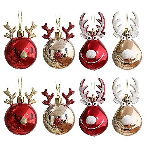 DUDNJC - 8 palline decorative per albero di Natale, con simpatiche renne, infrangibili, con sfere a specchio dorate e rosse, ideali come decorazione per matrimoni, feste di Natale