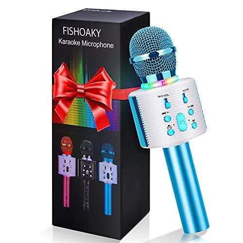 Micrófono Karaoke Bluetooth, FISHOAKY Microfono Inalámbrico Altavoces, Portátil Karaoke para Niños Cantar, Función de Eco, Teléfono Inteligente o Android/iOS (Azul)