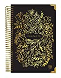 """bloom daily planners New Hardcover Contacts Address & Password Book - Alphabetical Organizer with Tabs - 6"""" x 8.25' - Black & Gold Embroidery"""