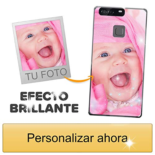 Funda móvil Personalizada con Efecto Brillante para Huawei P9 Plus con Tu Foto, Imagen o Frase - Funda Blanda en TPU Gel Transparente - Impresión de máxima Calidad