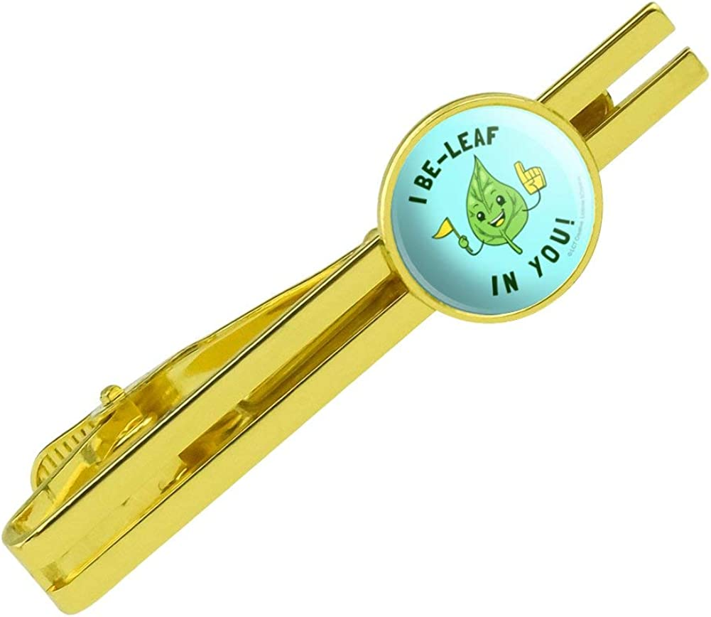 GRAPHICS & MORE I Be-Leaf in You Believe Funny Humor Round Tie Bar Clip Clasp Tack Gold Color Plated