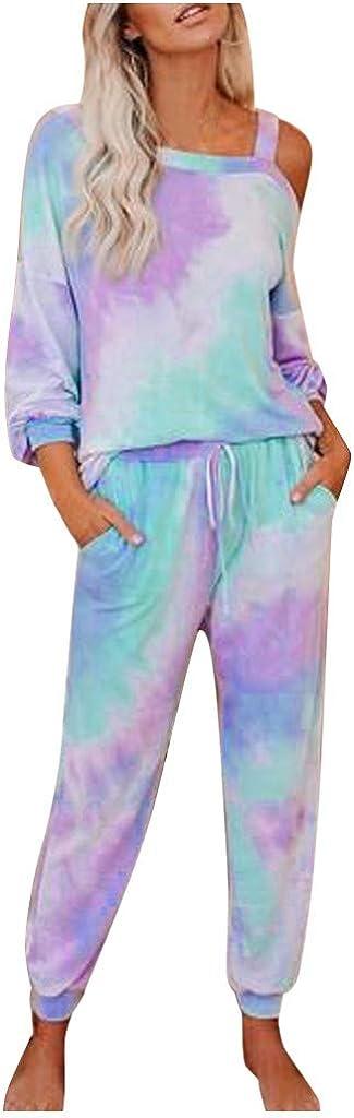 Hessimy Tie Dye Pajamas for Women,Two Piece Pajamas Set Tie Dye Printed Long Sleeves Shirt Long Pants Joggers Sleepwear