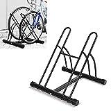 FEMOR Fahrradständer Bodenparker Fahrradparker für 2 Fahrräde Mehrfachständer Twin Bicycle Stand, Montage am Boden, für innen und außen(Schwarz)
