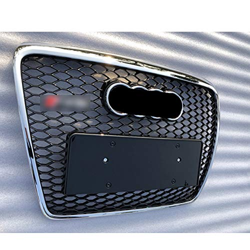 Front apron Grille, for A6 C6 S6 4F SFG 05-11Netz Hood Grill Racing Grille Euro License plate Holder Grille for RS6 style,Chrome2