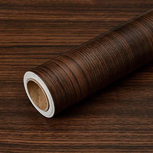 Olymajy adesivos para Muebles, Envoltura de Vinilo de Madera, 3 MX 40 cm Pegatinas Autoadhesivas para Muebles, Rollo de Papel Tapiz Decorativo Impermeable para Bricolaje para encimera(marrón Oscuro)