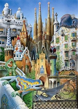 Educa- Collage Gaudí Obras de Arte Puzle, 1 000 Piezas, Multicolor (11874)