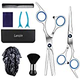 9PCS Hair Cutting Scissors Set, Professional Barber Hair Thinning Shears Kit Stainless Steel Hairdressing Scissors Thinning/Texturizing Set with Comb, Clips, Cape for Women Men Kids