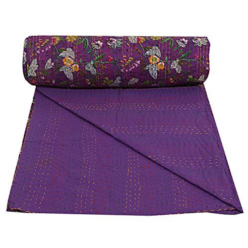 Lila Farbe Paradise gedruckt Twin Floral Decke Indische Baumwolle Kantha Quilt Dekorative Böhmische Baumwolle Boho-Bettwäsche Dekorative Twin/Single Stitched Bettüberzug Bett-Dekor