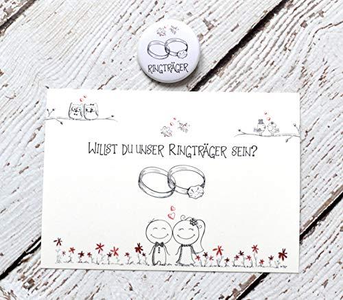 Ringträger fragen, Karte mit Button, Geschenk auf Hochzeit, Willst du unser Ringträger-kind sein?