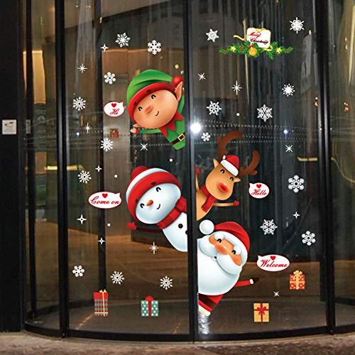 YULOONG Weihnachtsfenster Statische Aufkleber haftet abnehmbare Vinyl Weihnachtsmann Weihnachtsbaum Schneemann Schneeflocke Hirsch DIY Wand Fenster Tür Wandbild Showcase Aufkleber Aufkleber