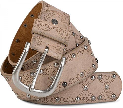 styleBREAKER Cintura con borchie motivo etnico, strass e borchie a sfera in design vintage, accorciabile, donna 03010061, colore:95cm, colore:Beige