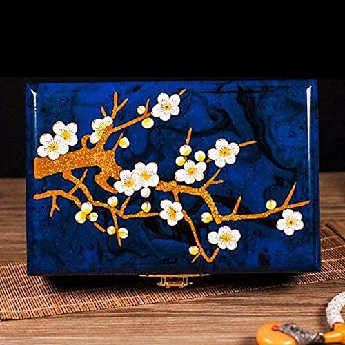 XKUN Joyero - China Muebles Online Lacado Joyero - Muebles Orientales/Regalos - Caja de joyería de laca negra con flores (AZUL)