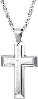 U7 Men Women Simple Cross Necklace Faith on God Lords Prayer Jewelry Stainless Steel/Black /18K Gold Chain, Customizable