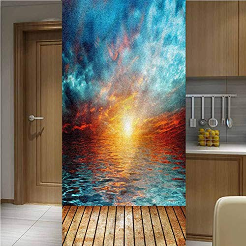 ONE Piece Decorative Window Privacy Films Glass Film,Dramatic Sunset Over The Sea Non-Adhesive Window Stickers Paint Frosted Static Cling Glass Decal,35.6'x118',for Office Meeting Room Living Room