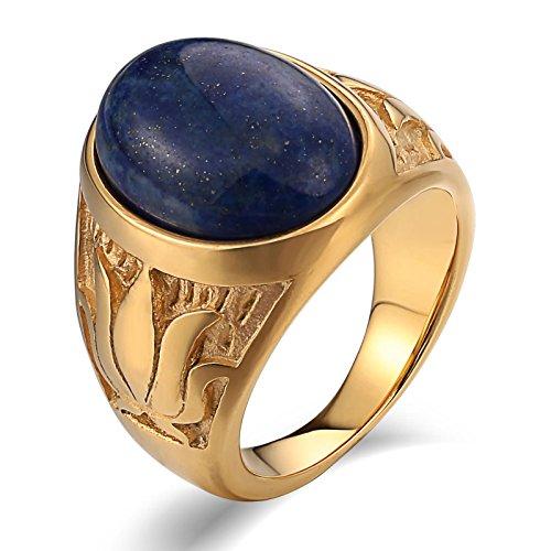 Adisaer Ring Gold Herren Edelstahlring Poliert Bike Gothic Ring Herren Gold Oval Opal Lotus Gr. 65 (20.7)