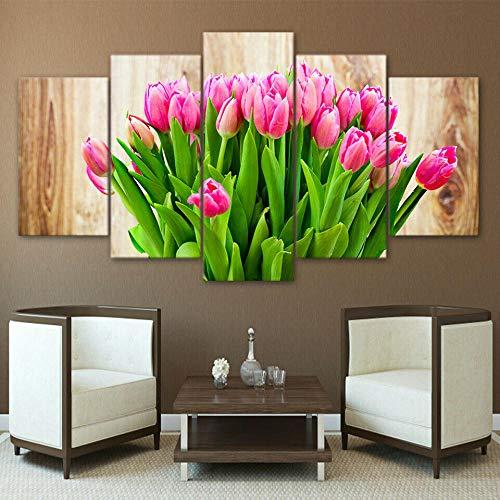 BHJIO 5 Piezas Cuadro sobre Lienzo Imagen Flor De Tulipán Rosa Impresión Pinturas Murales Decor Fotos para Salon,Dormitorio,Baño,Comedor Regalo 80X150Cm