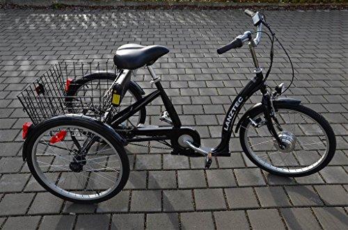 Lanztec Elektrodreirad LiIon Akku 36 V 11,6 Ah Therapie-Dreirad 7 Gang Shimano Nabenschaltung mit Rücktrittbremse Schwarz