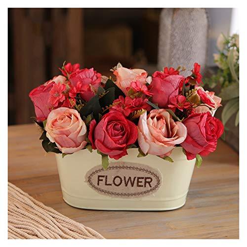 JISHIYU -S flor artificial, flores falsas de seda en jarrón, planta artificial de Navidad, flor decorativa de imitación para el hogar, jardín, fiesta, boda, decoración de mesa