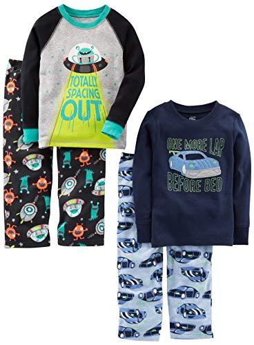 Simple Joys by Carter's Boys' Little Kid 4-Piece Pajama Set (Cotton Top & Fleece Bottom), Racer Cars/Space, 8