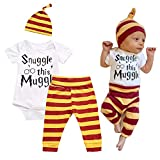 Mefarla Snuggle This Muggle Baby Boys Girls Romper Pants Hat Outfit Set Clothes (0-6 Months) White
