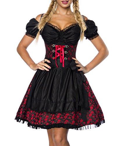 Dirndl Kleid Kostüm mit Bluse und Schürze aus Jacquard Stoff und Spitze Spitzenstoff Oktoberfest Dirndl rot/schwarz L Oberteil dunkel