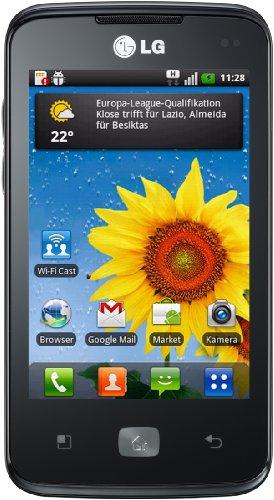 LG E510 Optimus Hub Smartphone (HSDPA, MP3, 5-Megapixel Kamera, 8,8 cm (3,5 Zoll) Touchscreen) schwarz