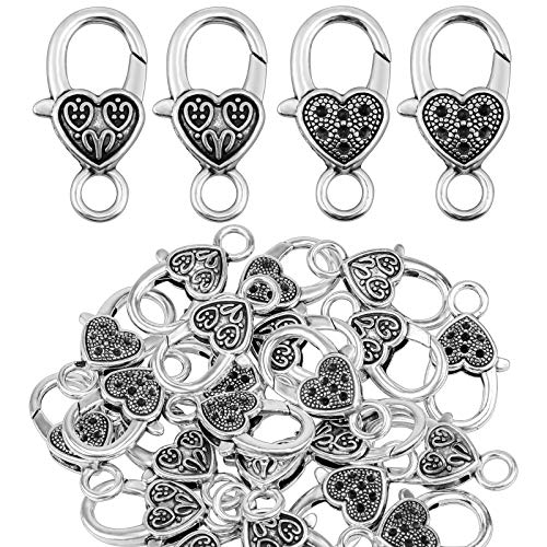 Homgaty 60 Stück Karabinerverschlüsse, DIY Herzform Karabiner Verschluss Kettenverschluss für Schmuck Halsketten Armband Herstellung Zubehör (Zwei Stile, Ancient Silver)