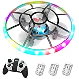HASAKEE Q7 Mini Drones para Niños,Dron Helicopteros Teledirigidos con Luces de Colores & 3 Baterías,Volteos 3D,Cuadricóptero con Retención de Altitud y Modo Sin Cabeza