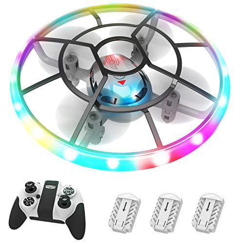 HASAKEE Q7 Mini Drone per Bambini,Elicottero Telecomandato con Luci e 3 Droni Batterie,RC Droni Con Rotazione a 360° e Modalità Senza Testa,Regalo Per Ragazzi Ragazze Bambini Principianti