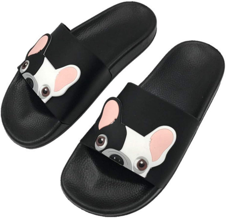 Nafanio Summer Cute Slippers Cartoon Dog Women Slides Waterproof Pu Leather Beach shoes Woman Flat Heels Flip Flops Barefoot