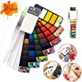 Watercolor Paint Set Foldable 42 Colors with Brush Pen and Palette, Portable Travel Mini Solid Watercolor Painting Kit Gift for Adults Kids Drawing, Artists Field Sketch Set Outdoor Painting Supplies