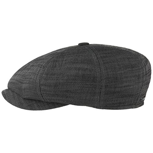 Stetson Casquette Gavroche Many Cotton Homme - Made in Germany en Coton Beanie volumineuse avec Visiere, Visiere Printemps-ete - 56 cm Noir