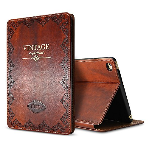 iPad Air Case, Miniko(TM) Premium PU Leather Vintage Book Style Slim Fit Light Weight Smart Case Cover with Auto Sleep Wake Function Multi Angle Stand for iPad Air 1st Generation Brown