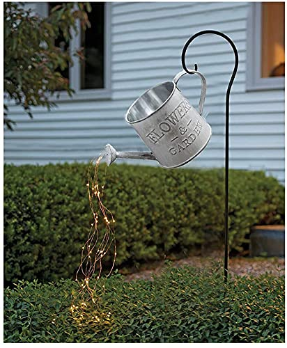 ZZZTWO Decoración de luces de jardín con diseño de estrella, luces de cadena para exteriores con temporizador, decoración de regadera, luces de hadas LED, esculturas de jardín y estatuas