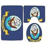 Not Applicable United State Navy Ocean US Army y American Eagle Letter Box 3 PCS Conjuntos de alfombras de baño WC Piso Estera de Contorno Cubierta de la Tapa del Inodoro
