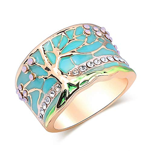 Lucky Flower Tree Rings Gold Pink Opal Green Enamel Wide Ring for Woman Party Crystal Vintage Jewelry Z0006 10