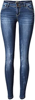 FCWJHNTSL Vaqueros Pitillo Azules de Cintura Baja para Mujer Pantalones Vaqueros Rasgados Blanqueados a la Moda Femme Tall...