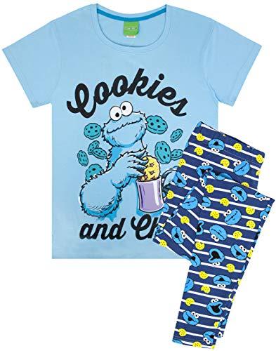 Sesame Street Cookie Monster Damen der Frauen Erwachsenen-Pyjamas Nachtwäsche PJ Set