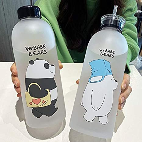 Details about  /Plastic Water Bottle 1000ml Frosted Leak-Proof Straw Transparent Eco-Friendly