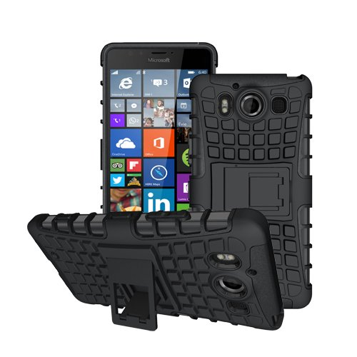 betterfon Microsoft Lumia 950 / Lumia 950 Dual Sim Schwarz Outdoor Hybrid Case Panzer Tasche Cover Silikon Handytasche Hülle SCHUTZ Schutzhülle Bumper +Gratis Displayschutzfolie