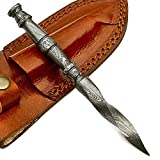 Handmade Damascus Steel Hunting Mini Tri Dagger Knife VK2432