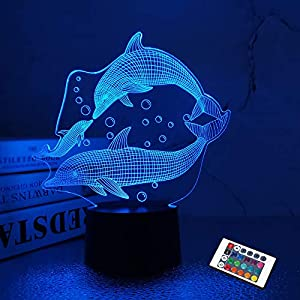 Dolphin Gifts, 3D Illusion Lamp, Dolphin Night Light for Bedroom Decoration Fashion Style Gifts for Birthday Xmas with Remote Control 16 Color Change + Dim Function + 4 Flash Mode