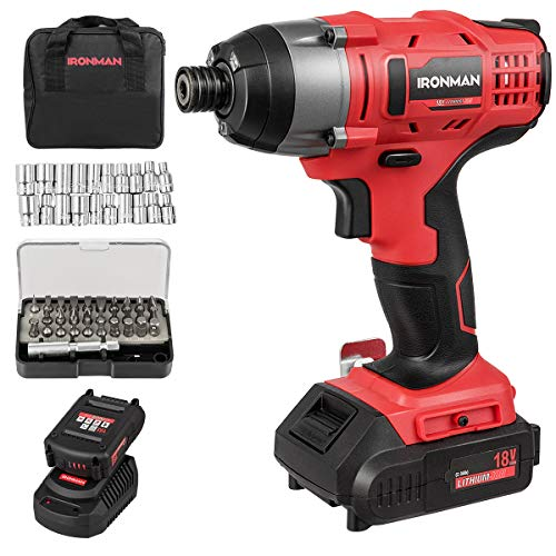 """Goplus Impact Driver Kit, 18V Lithium Ion 1/4"""" Hex Cordless Impact Wrench Impact Drill with LED Work Light, 31pcs Screwdriving Set, Variable Speed, Battery and Charger Included"""