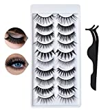 Bilbal - 10 Pairs False Eyelashes with One Tweezers, 3D Faux Mink Handmade False Lashes, Thick Reusable Eyelashes for Makeup Eyelashes Extension (10 Styles)