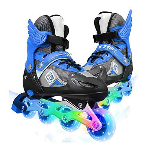 MRFYD Verstellbare Inline Skates für Kinder mit Allen beleuchteten Rädern ABEC-7 Carbonlager für Teenager und Erwachsene Rollschuhe für Mädchen Jungen Lnliner Skate Blau_S (26-32)