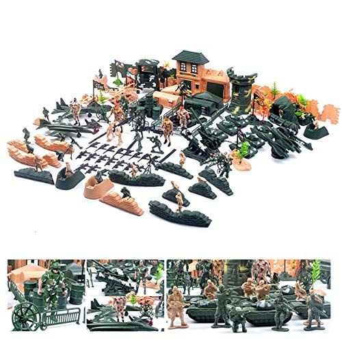 FXQIN Military Toy Soldier Playset,Army Action Figures Set, Military Figures and Accessories Battle Group Army Man Toy Soldiers Playset Action Figures, 200 Soldiers Tanks Aircraft and Boats
