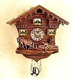 magicaldeco Original Schwarzwald-Pferde und Bauer- Kuckucksuhr mit Nachtabschaltung, Kuckucksruf - Cuckoo Clocks- Germany Black Forest
