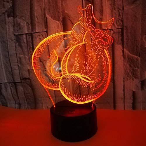 HHANN 3D Illusion Lampe Led Nachtlicht Lampen, Boxhandschuhe Optische Nachtlichter Tischlampe Kinder Nachttischlampe 16 Farben Ändern Schreibtischlampe Mit Usb-Kabel
